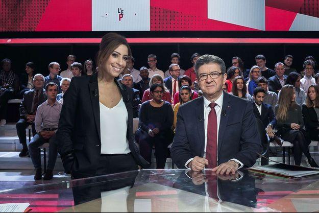Léa Salamé et Jean-Luc Mélenchon, jeudi soir sur France 2.