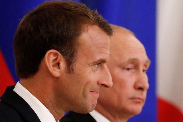 Emmanuel Macron et Vladimir Poutine à Saint-Pétersbourg