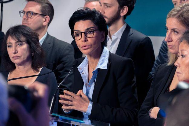 Rachida Dati lundi en conférence de presse à son QG de campagne.