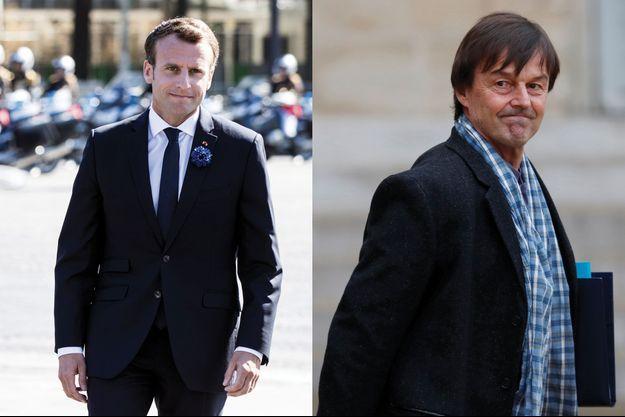 Emmanuel Macron et Nicolas Hulot. Le président et son ministre accusent une baisse dans le tableau de bord des personnalités Ifop-Fiducial pour Paris Match.