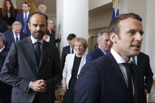Edouard Philippe et Emmanuel Macron à l'Elysée le 18 mai.