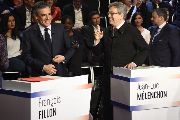 Jean-Luc Mélenchon et François Fillon le 4 avril, avant le deuxième débat présidentiel.