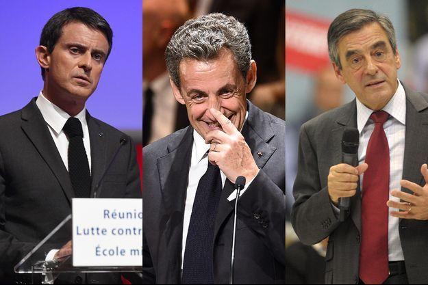 Manuel Valls, Nicolas Sarkozy et François Fillon.