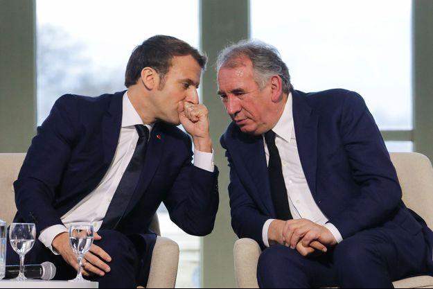Emmanuel Macron et François Bayrou à Pau en janvier.