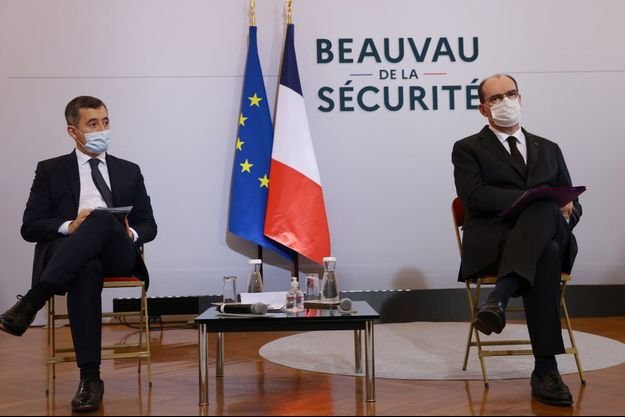Gérald Darmanin et Jean Castex lors du Beauvau de la sécurité lundi.