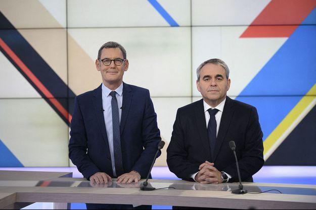 Xavier Bertrand sur le plateau de France 3, ce dimanche, aux côtés du journaliste Francis Letellier.