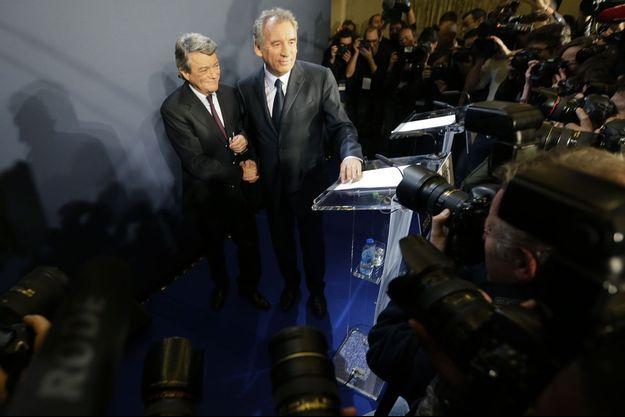 Jean-Louis Borloo et François Bayrou le 5 novembre dernier, lors du lancement de l'Alternative.