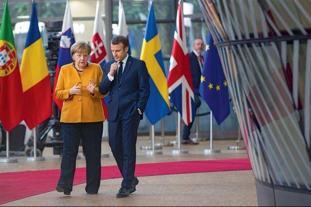 Angela Merkel et Emmanuel Macron lors du sommet européen à Bruxelles, le 22 mars.