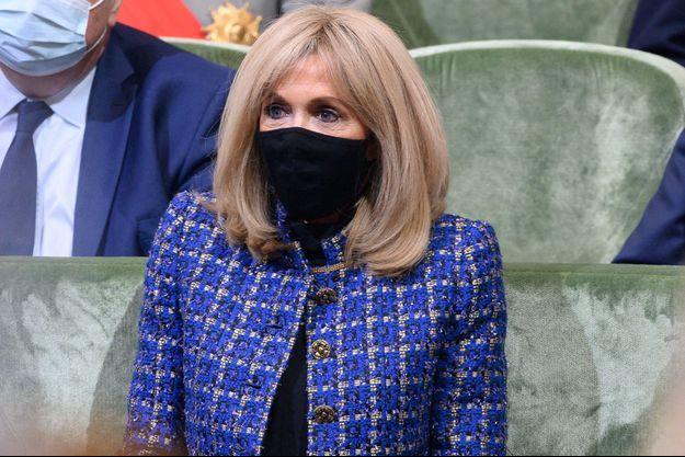Brigitte Macron, ici à l'Institut de France, le 5 mai 2021 lors de la commémoration du bicentenaire de la mort de Napoléon.