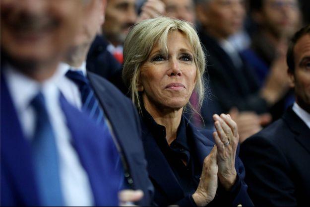 Brigitte Macron, ici au stade de France pour la Finale du Top 14, en juin 2017.