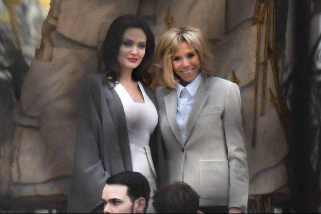 Angelina Jolie et Brigitte Macron, mardi à l'Elysée.