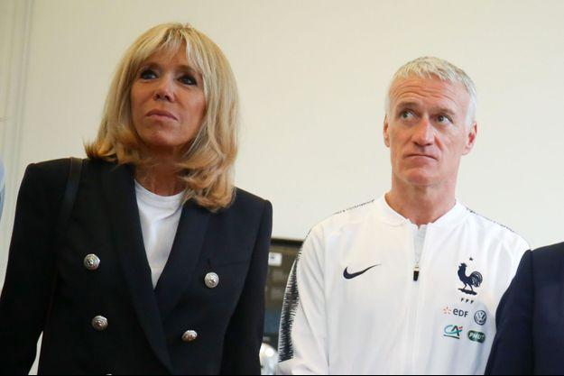 Brigitte Macron et Didier Deschamps, ici à Clairefontaine quelques jours avant la Coupe du monde 2018.