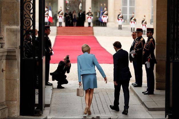 Brigitte Macron, 14 mai à l'Elysée, lors de l'investiture d'Emmanuel Macron.