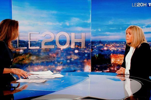 Brigitte Macron dimanche soir sur le plateau du 20 heures de TF1.