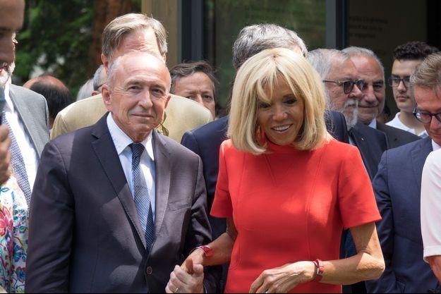 Gérard Collomb et Brigitte Macron mardi près de Lyon.