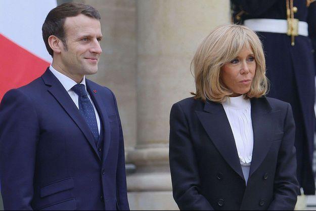 Emmanuel et Brigitte Macron à l'Elysée début mars.