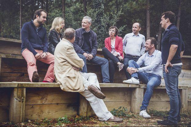 De gauche à droite: Sébastien Lecornu, Camille Tubiana, Jérôme Grand d'Esnon (de dos), Bruno Le Maire, Katarzyna Timsit, Alain Missoffe, Dimitri Lucas, Bertrand Sirven.