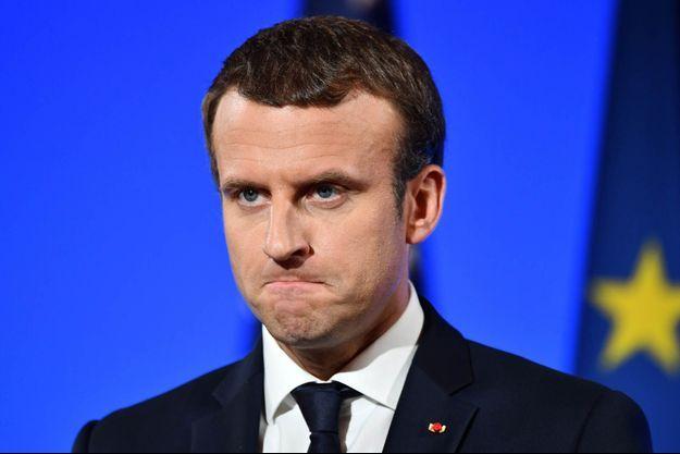 Emmanuel Macron lors de la conférence de presse commune avec Donald Trump.