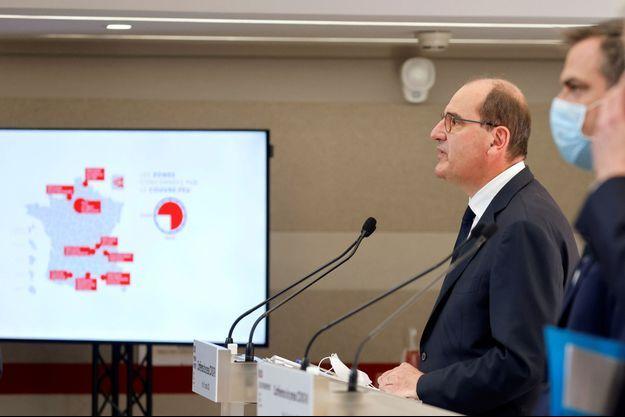 Jean Castex et Olivier Véran , jeudi en conférence de presse.