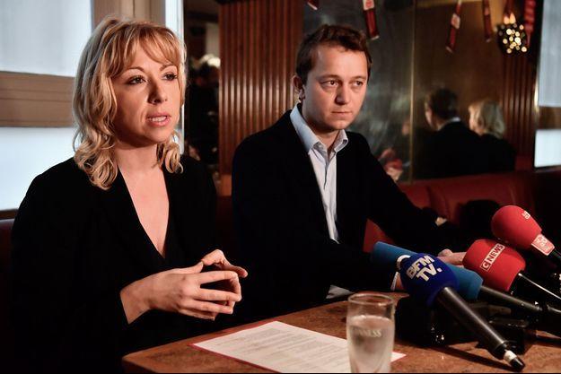 Florence Portelli et Maël de Calan, fin janvier en conférence de presse.