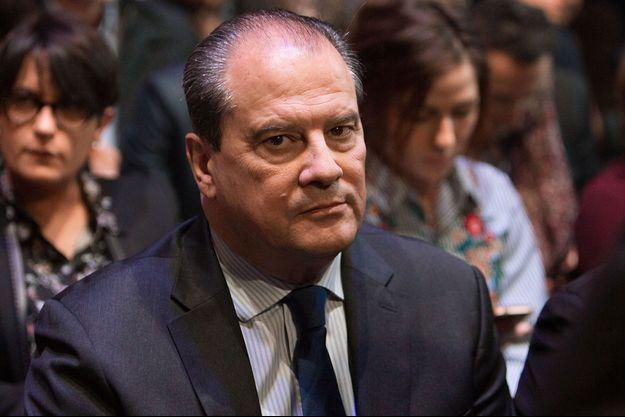 Jean-Christophe Cambadélis le 23 avril 2017 à Paris, pendant la présentation du programme de Benoît Hamon.