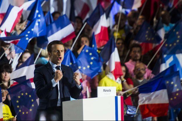 Emmanuel Macron en meeting à Marseille en 2017.