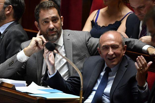 Christophe Castaner et Gérard Collomb, en juin 2018. A cette époque, ils étaient respectivement secrétaire d'Etat chargé des relations avec le Parlement et ministre de l'Intérieur.