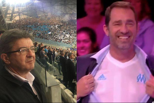 """Jean-Luc Mélenchon au stade Vélodrome et Christophe Castaner dans """"TPMP"""", jeudi soir."""
