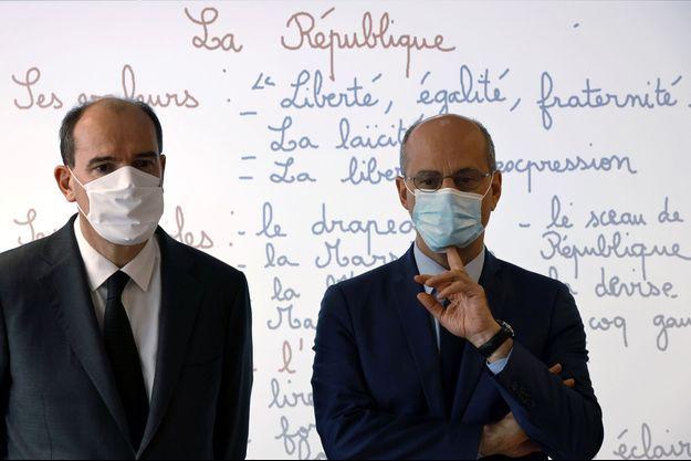 Jean Castex et Jean-Michel Blanquer à Conflans-Saint-Honorine.