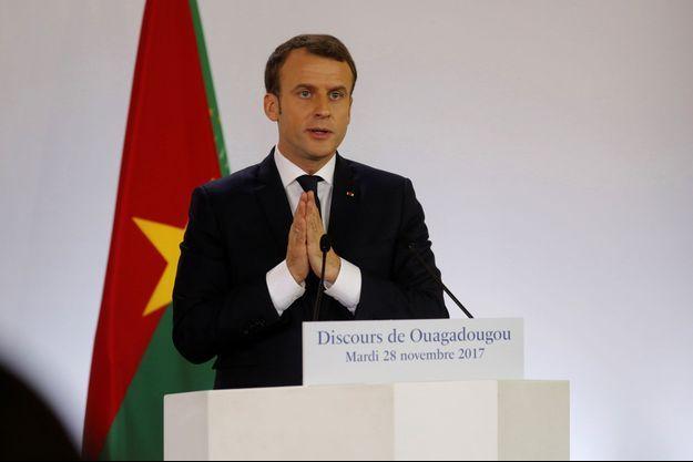 Le président de la République Emmanuel Macron lors de son discours à l'université de Ouagadougou, au Burkina Faso.