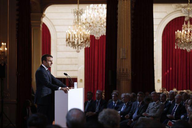 Emmanuel Macron s'adresse aux ambassadeurs, mardi à l'Elysée.