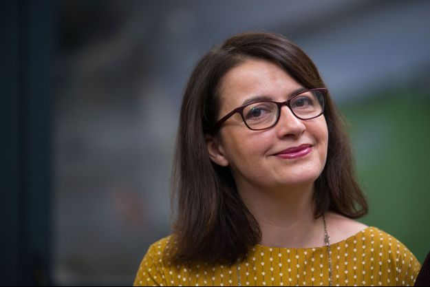 Cécile Duflot le 11 janvier, lors d'une conférence de presse de Yannick Jadot, le candidat écologiste à la présidentielle.