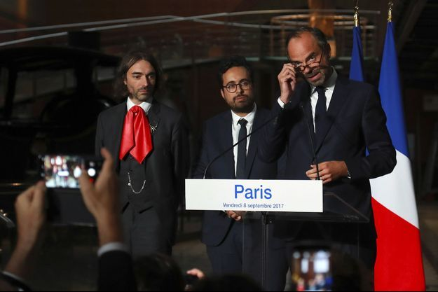 De gauche à droite : Cédric Villani, Mounir Mahjoubi et Edouard Philippe.