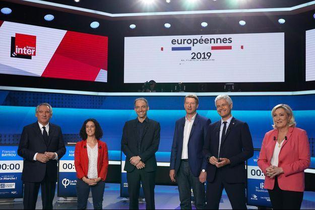 Francois Bayrou, Manon Aubry, Raphael Glucksmann, Yannick Jadot, Laurent Wauquiez et Marine Le Pen sur le plateau de France 2, mercredi soir.