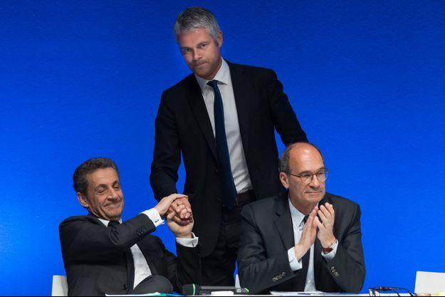 Nicolas Sarkozy, Laurent Wauquiez et Eric Woerth le 2 juillet à Paris.
