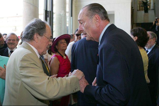 Michel Rocard et Jacques Chirac lors de la garden-party à l'Elysée en 2005