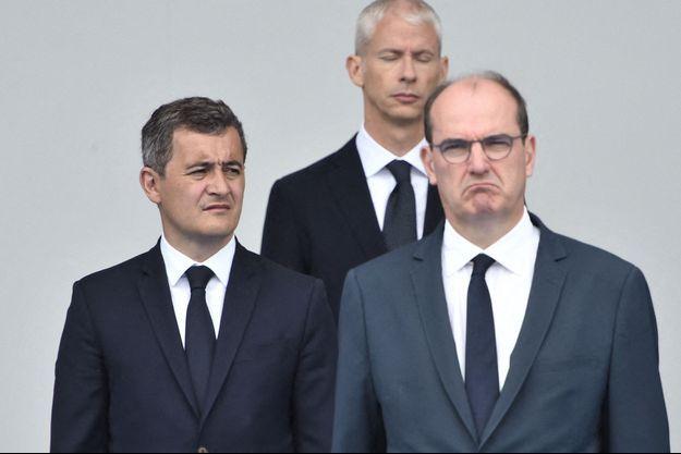 Gérald Darmanin et Jean Castex, mardi lors de la cérémonie du 14-Juillet à Paris.