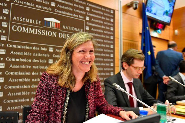 Yaël Braun-Pivet, présidente de la commission des Lois et co-rapporteure de la commission d'enquête, aux côtés de Guillaume Larrivé, également co-rapporteur, mercredi.