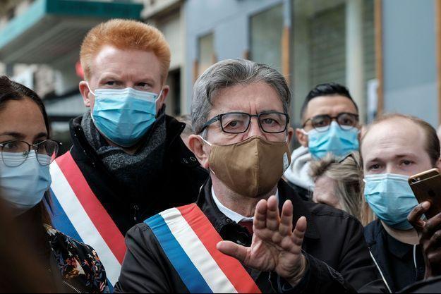 Jean-Luc Mélenchon, place de la République à Paris, dimanche, pour un hommage à Samuel Paty.