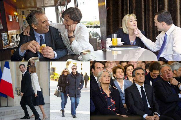 François et Babeth Bayrou (Photo: Philippe Petit), Marine Le Pen et Louis Aliot (Patrick Bruchet), Benoît Hamon et Gabrielle Guallar (Abaca), Brigitte et Emmanuel Macron (Best Image), Penelope et François Fillon (AFP).