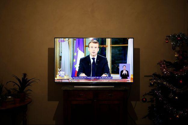 Emmanuel Macron lors de son allocution télévisée du 10 décembre 2018.