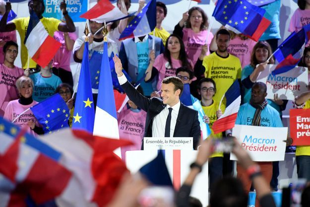 Emmanuel Macron lors d'un meeting pour sa campagne présidentielle.