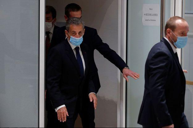 Nicolas Sarkozy après le verdict, lundi, au tribunal de Paris.