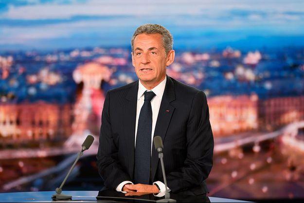 Nicolas Sarkozy sur le plateau de TF1 le 3 mars 2021.