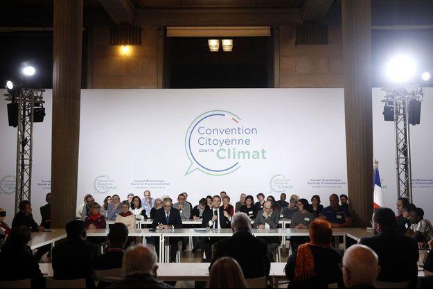 Rencontre d'Emmanuel Macron avec les 150 citoyens de la Convention citoyenne pour le climat, le 10 janvier dernier.