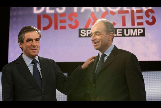 Jean-François Copé et François Fillon, jeudi soir, sur France 2.