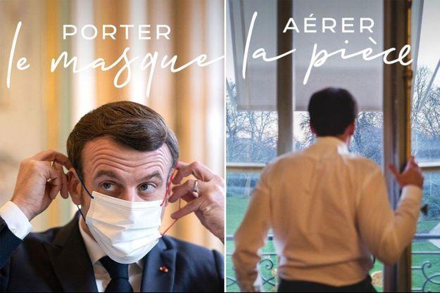 Emmanuel Macron rappelant tout à tour les différents gestes barrières.