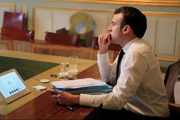 Emmanuel Macron la semaine dernière, en vidéoconférence avec les leaders européens.