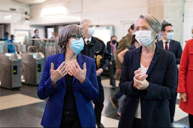 Elisabeth Borne, à droite, ici le 10 mai, avec Catherine Guillouard , PDG de la RATP.