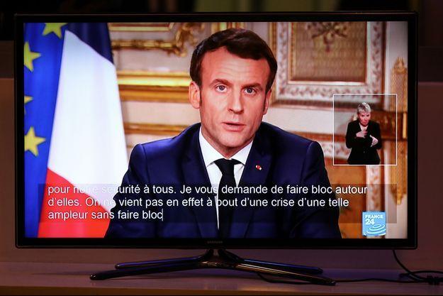 Emmanuel Macron lors de son allocution télévisée du 12 mars.